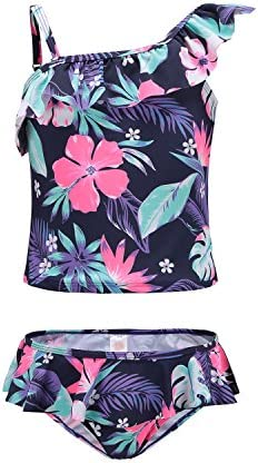 1ef0aa64785bb HowJoJo Girls Two Piece Tankini Swimsuit Hawaiian Ruffle Swimwear Bathing  Suit Set Blue