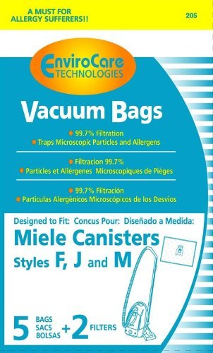 EnviroCare Replacement Bags for Miele F J M Microfiltration Vacuum Bags - 10 Bags + 4 Filters - Moon Silver Bag