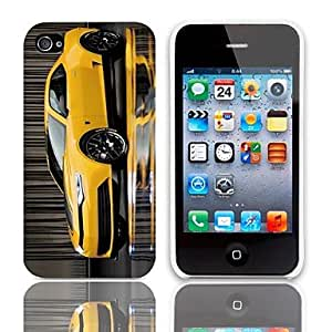 JOE Yellow Coupe Pattern Hard Case with 3-Pack Screen Protectors for iPhone 4/4S