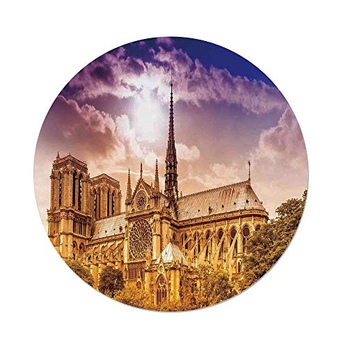 iPrint Polyester Round Tablecloth,Paris Decor,Notre Dame Cathedral Paris Parisian Gothic Trees Forest Sunshines Cloudy Sky,Dining Room Kitchen Picnic Table Cloth Cover Outdoor Indoor -