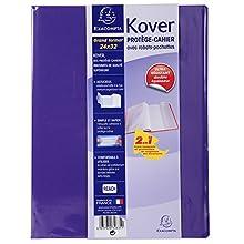 Exacompta Kover - Funda para cuaderno (PVC, doble grosor, con solapas y etiqueta adhesiva, 24 x 32 cm), color morado 24 x 32 cm
