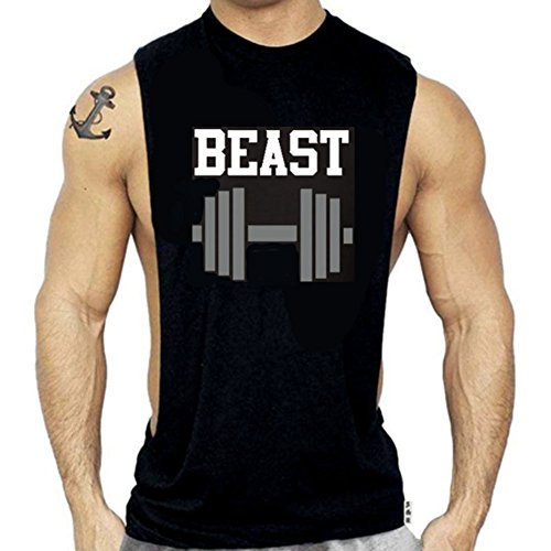 SR Men`s Beast with Dumble Muscle Shirt Workout Tank Top Bodybuilding Sleeveless Tshirt - X-Large -