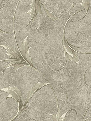 Wallpaper Designer Large Cream & Gray Taupe Leaf Scroll on Metallic Gray Faux ()