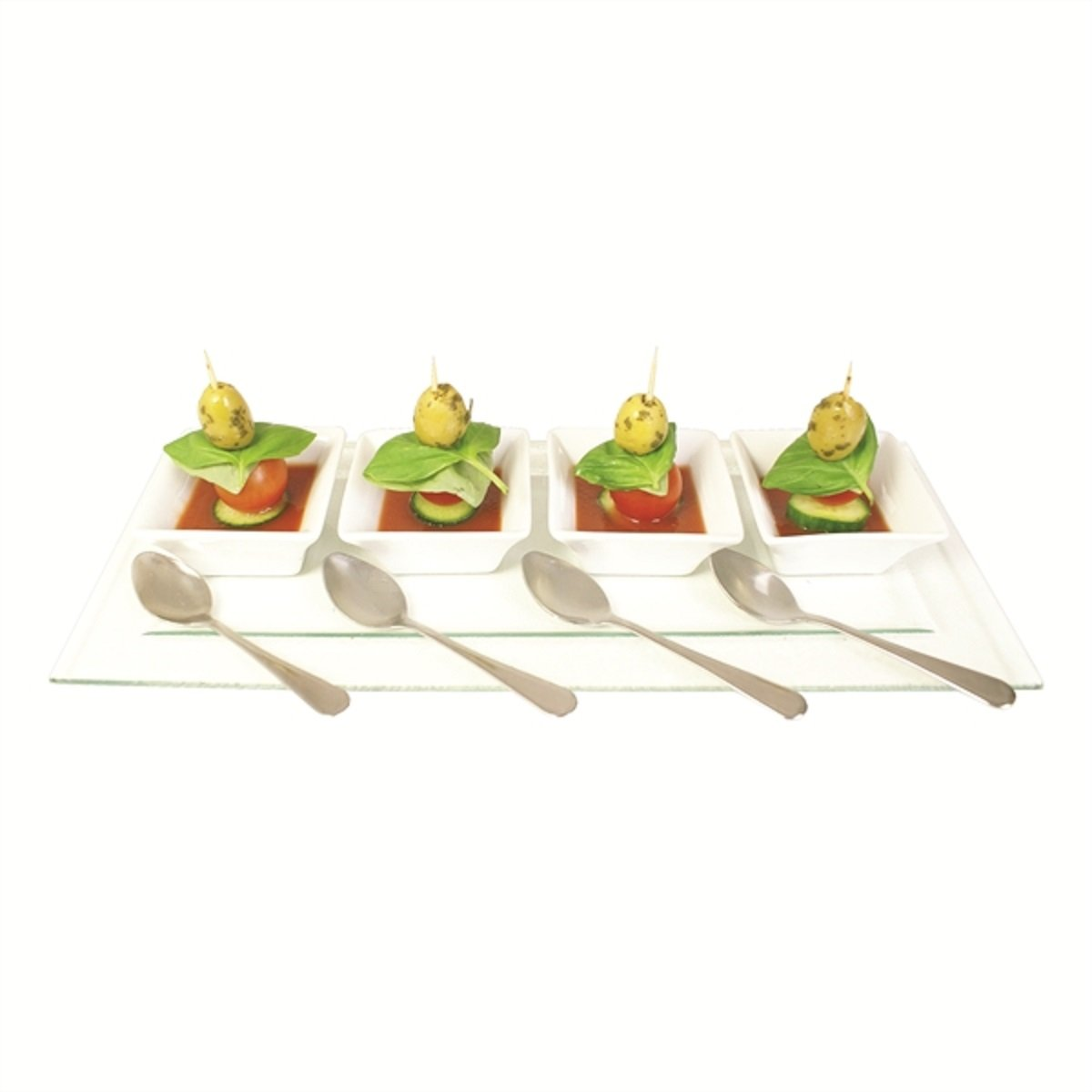 Dinner Party Presentation set of 4 Mini Square Bowls, with 4x spoons and Glass Serving Tray Zodiac