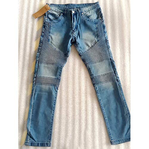 Uomo Skinny Slim Da Denim Giovane Cotton Legging Fit Moto Pantaloni Jeans Stretch Hellblau ApU5qpF