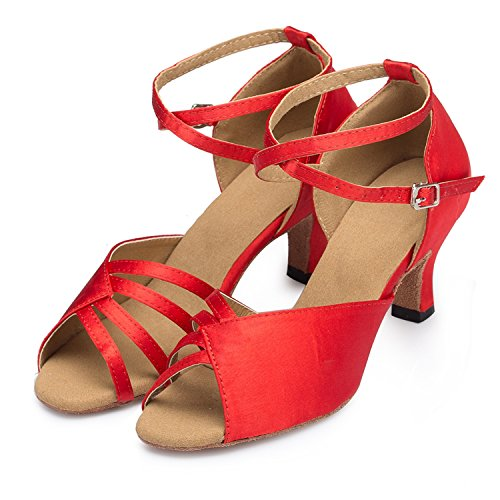 Kitten-Heel-Absatz, Satin Minitoo Damen Latein Tanzschuhe Rot