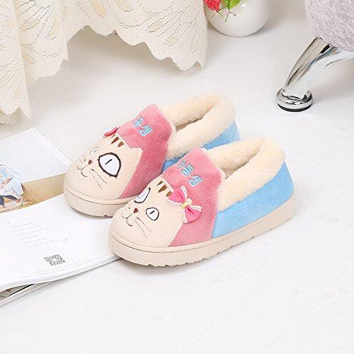 Fankou all-inclusive con cotone pantofole inverno genitore-bambino giovane indoor home anti-skid scarpe di cotone cartoon, maschio / femmina 27-28 scarpe lunghezza 18cm, maschio / girl - rosso