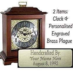 Qwirly Store: Austen Mechanical Mantel Clock by Hermle 22518N90340 & Personalized Engraving Brass Plaque - Classic Decorative Antique Style Table Clock with Westminster Chime Movement - Cherry
