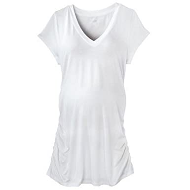 009226d1a8174 Liz Lange Maternity White V-Neck Side Ruched Tunic Tee Shirt (XXL (Extra