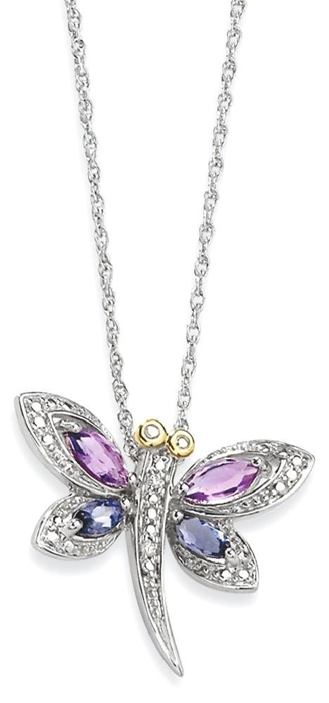 ICE CARATS 925 Sterling Silver 14k Purple Amethyst Blue Iolite Diamond Dragonfly Chain Necklace Gemstone Fine Jewelry Gift Set For Women Heart