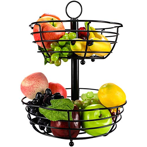 TQVAI 2 Tier Countertop Fruit Basket Bowl Bread Storage - Flower Shape