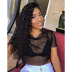 Eayon Hair 360 Lace Frontal Wig Human Hair with Baby Hair Water Wave Brazilian Remy Lace Wigs for Black Women 180% Heavy Density 14 inches Natural Color