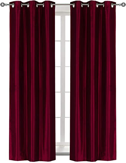 Home Queen Solid Grommet Room Darkening Curtain Drapes for Livingroom, Thermal Insulated Light Blocking Curtains for Bedroom, 37 Inch Wide X 95 Inch Long, 2 PCS, Burgundy