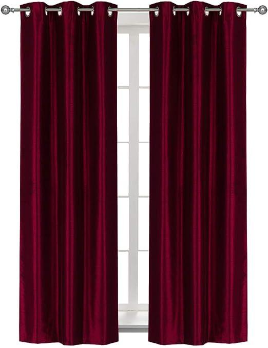 2Pcs Silky Polyester Window Curtains Shade Bedroom Bath Drapes 01