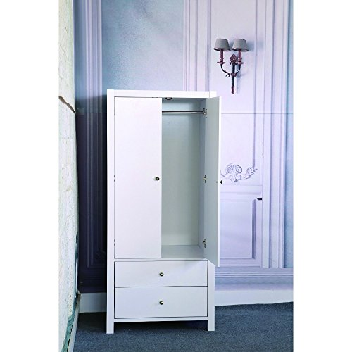 Benzara Spacious Gleaming White Finish 2 Magnet Closing Door Wardrobe with Inner Hanging Rail (Door 2 Wardrobe White)