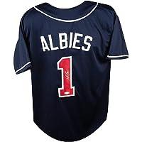 $159 » Ozzie Albies Autographed Atlanta Braves Custom Navy Baseball Jersey - JSA COA