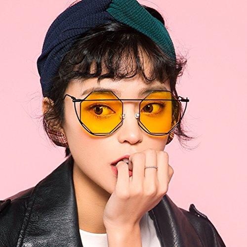 amarilla Retro Round Cóncava Face HL cóncava Red Tide Gafas Harajuku sol 2018 New Style de Street mujer tRZqZvIWw6