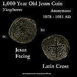1081 TR 1,000 Year Old Jesus CHRIST Facing Book of Gospel. Latin Cross. Nicephorus. Bronze Good