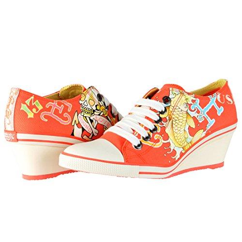 Ed Hardy Bret Wedge Heel Shoe for Women - Orange - 6