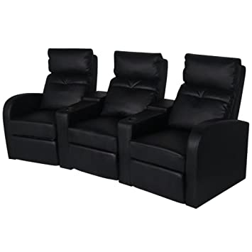 WEILANDEAL Sillon reclinable de 3 plazas de Cuero Artificial ...