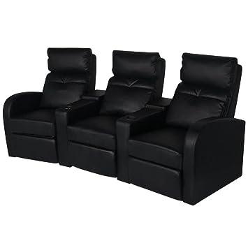 Luckyfu Questa sofá reclinable a 3 plazas de Piel Artificial ...