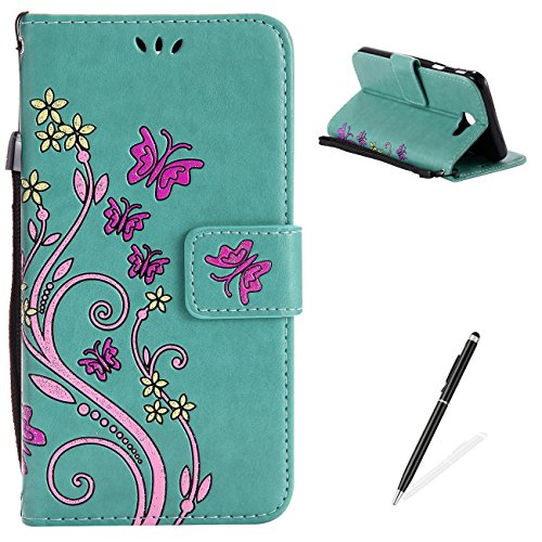 Ballet Embossed Wallet - Samsung Galaxy J7 Prime Case,MAGQI Premium Slim Fit Flip PU Leather Stand Wallet Book Style Case with Card Slots Magnetic Closure Embossed Rose Flower Butterfly Pattern Cover - Green