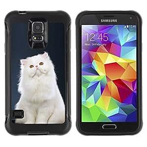 Suave TPU Caso Carcasa de Caucho Funda para Samsung Galaxy S5 SM-G900 / White Persian Longhair Cat Pink Nose / STRONG