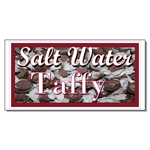 Salt Water Taffy Restaurant Café Bar DECAL STICKER Retail Store Sign 19.5 x 48 (Saltwater Taffy Sticker)