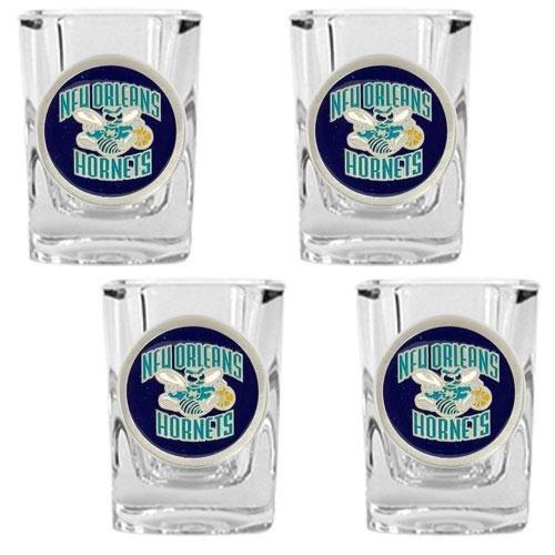 Nba Square 4 Piece - NBA New Orleans Hornets Four Piece Square Shot Glass Set