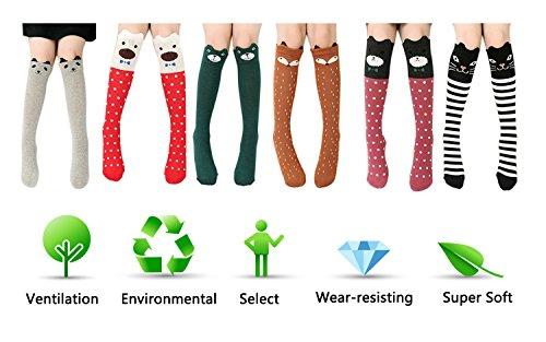 6 Pack Girls Socks, Cotton Over Calf Knee High Socks (Cartoon Animal Panda Cat Bear Fox) by Fansco (Image #7)