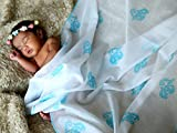 TURA TURI Muslin Swaddle Blanket by, 100% cotton muslin, Indian Tusker (Blue), Super Soft and Ideal for Newborns, 3 Pack