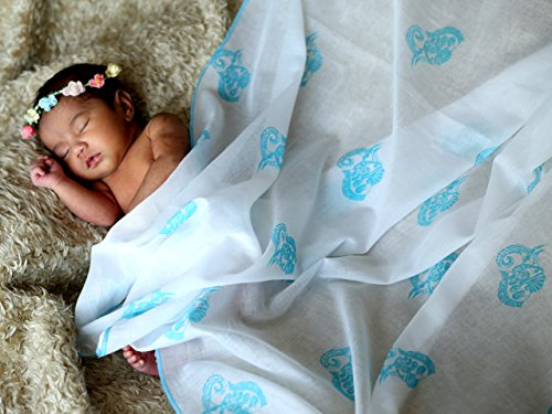 TURA TURI Muslin Swaddle Blanket by, 100% cotton muslin, Indian Tusker (Blue), Super Soft and Ideal for Newborns, 3 Pack by TURA TURI