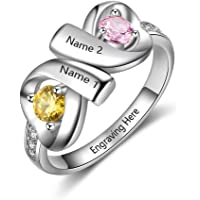 ec3c4720f8 MadisonAva Mothers Rings with 2 Simulated Birthstones Personalized Name  Rings for Women Promise Rings for Her