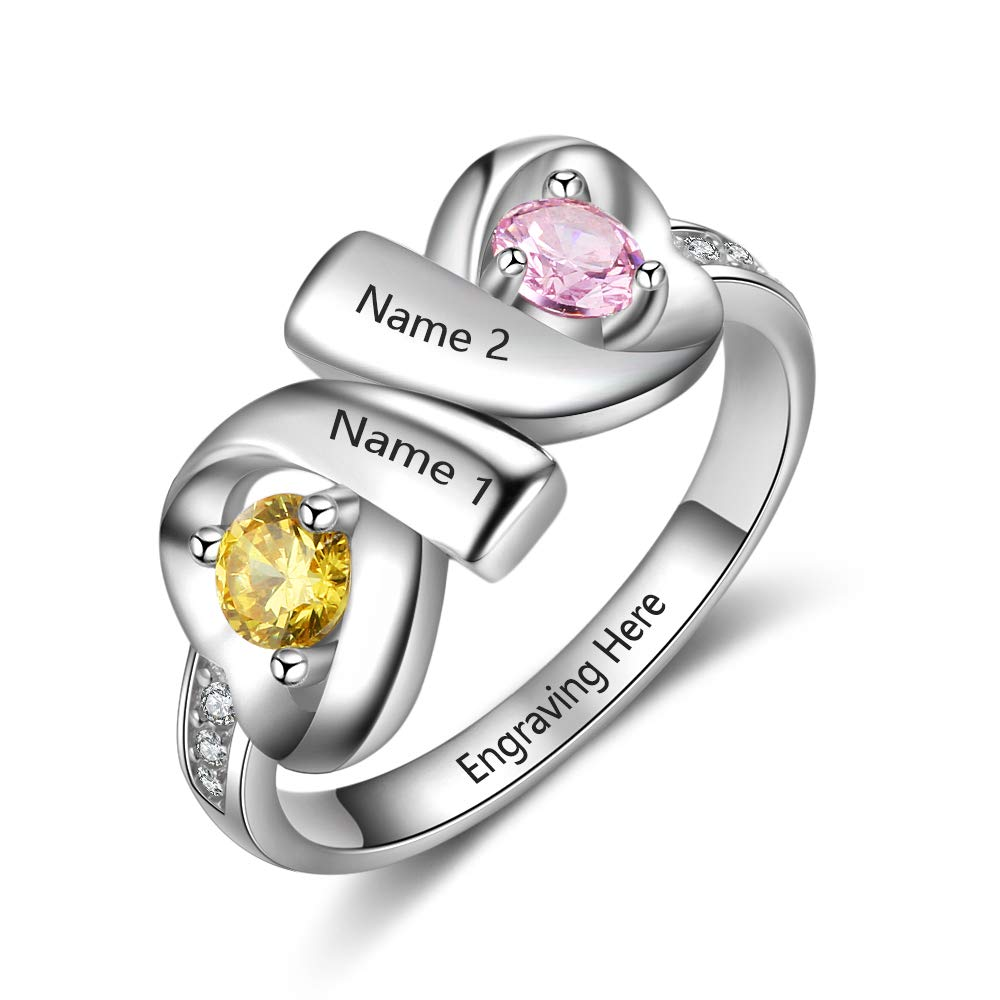 JewelOra Infinity Personalized Promise Rings for Women Engraved Names Mothers Rings with 2 Simulated Birthstones (Silver, 7)