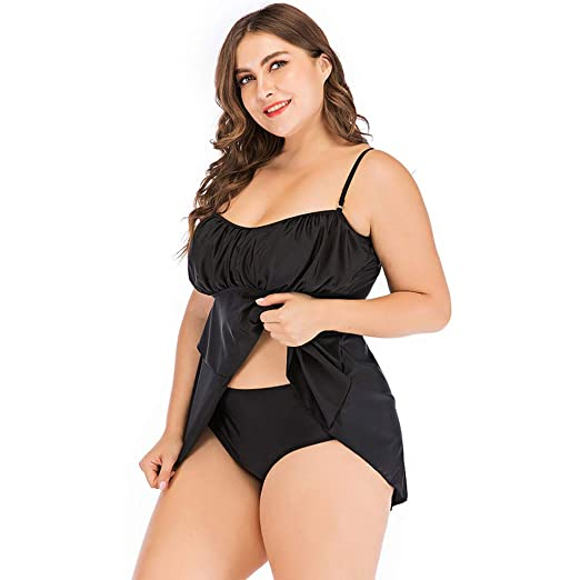 de54b5abc0 Women's Two Piece Swimsuit Strappy Ruched Plus Size Tankini Swimdress Set  Modest Tummy Control Swimwear Black