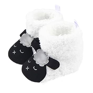 e0d3a40239cf85 Amazon.com : Baby Shoes Booties Winter Cute Lamb Animal Baby Girls Shoes  Fleece Warm Toddler Moccasins Boots Footwear (#01, 7-12 Months) : Baby