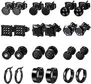 LOYALLOOK 6-12Pairs Stainless Steel Earrings For Men CZ Stud Earring Tiny Ball Stud Earrings Cartilage Earring