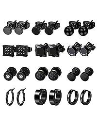 LOYALLOOK 6-12Pairs Stainless Steel Earrings For Men CZ Stud Earring Tiny Ball Stud Earrings Cartilage Earrings Endless Hoop Earrings For Men Boys