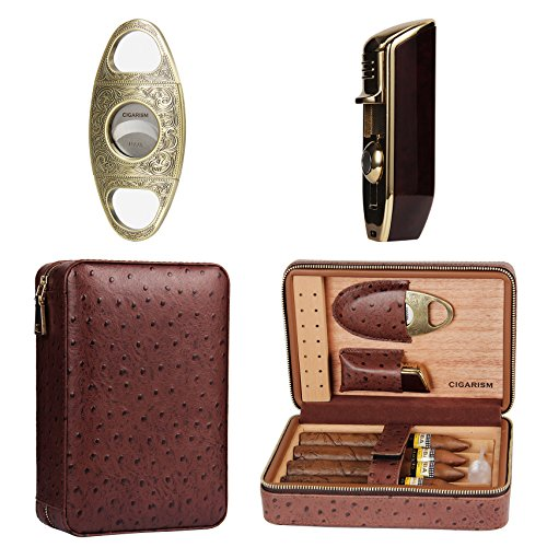 Leather Cigar Travel Case - CIGARISM 4 Count Ostrich Pattern Genuine Leather Cedar Cigar Travel Case Humidor Lighter Cutter Set