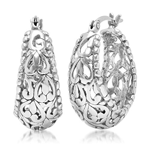 Sterling Silver Open Filigree Click Top Oval Hoop Earrings (0.75 inches)