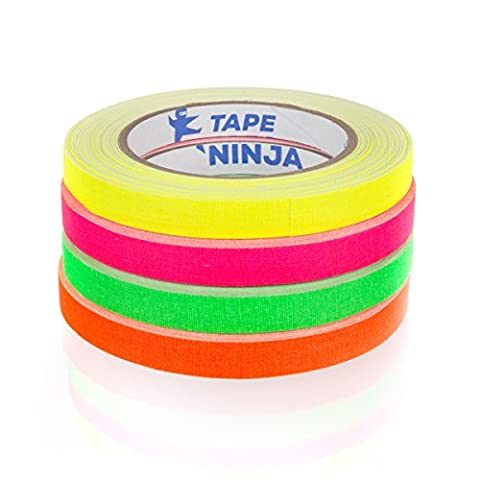 Professional Grade NEON Spike Tape by Tape Ninja - Made in the USA - 1/2 Inch X 30 Yards - 4 Rolls - Heavy Duty Real Gaffer's Tape - Non-Reflective - Waterproof - Order Risk (4x4 Spike)