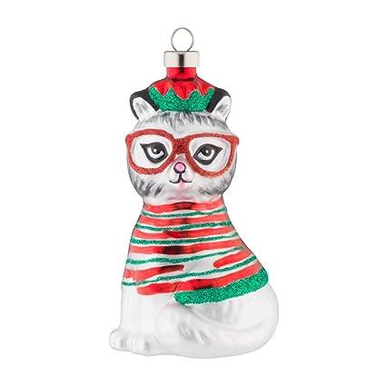 kat + annie Nerdy Christmas Kitty Ornament, Red, Green, White, Black - Amazon.com: Kat + Annie Nerdy Christmas Kitty Ornament, Red, Green