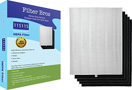 115115 True HEPA Replacement Filter 'A' Combo for Winix Plasmawave Series Home Air Cleaner Purifiers(6300, P300, 5300, 5500, 5500-2, 5300-2, 6300-2, C535) Plus 4 Carbon Odor Reducing Pre-Filters -