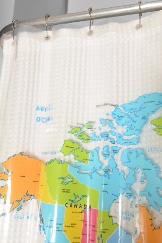 Home World Map Shower Curtain With Set of 12 Chrome Roller H