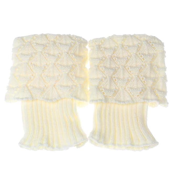 Las polainas del cortocircuito de punto de ganchillo velero vieiras cortos calcetines largos Botas para las mujeres (blanco) 1 Pc: Amazon.es: Ropa y ...
