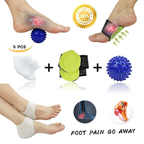 Plantar Fasciitis Inserts, Arch Support, Massage Ball, Best for Heel Pain Treatment, Cracked Heel Protectors, Foot Massager, Flat Feet, Relieve the Swelling and Tingling.(5 - Heel Cups Deep