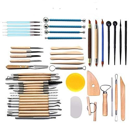 51pcs Clay Sculpting Tools Pottery Carving Tool Set Pottery & Ceramics Wooden Handle Modeling Clay Tools by PRO (Image #6)