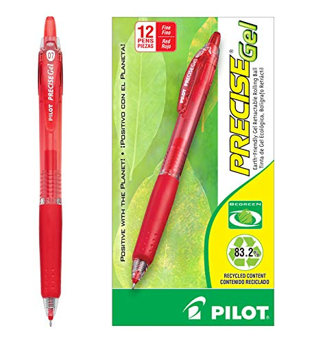 (Pilot BeGreen Precise Gel Retractable Rolling Ball Pens Fine Point Red Ink Dozen Box (15003) Retractable, Refillable & Premium Comfort Grip, Smooth Lines to the End of Page)