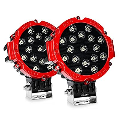 Nilight 2pcs 185w Red Round Cree LED Work Light Driving Spot Work Light Offroad