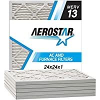 Aerostar Pleated Air Filter, MERV 13, 24x24x1, Pack of 6, Made in the USA
